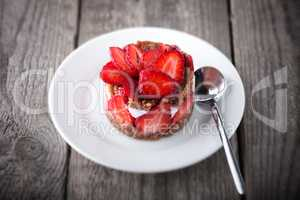 Strawberry tart on the plate