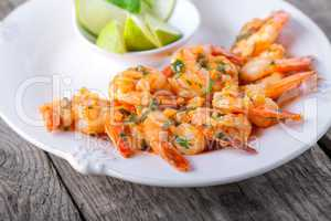 Fried Prawns served on the plate