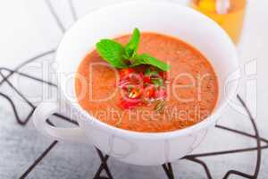 Bowl of fresh tomato soup gazpacho
