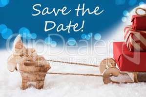 Reindeer With Sled, Blue Background, English Text Save The Date