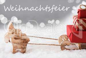 Reindeer With Sled, Silver Background, Weihnachtsfeier Means Christmas Party