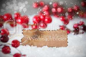 Burnt Label, Snow, Snowflakes, Weihnachtsfeier Means Christmas Party