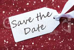 Label On Red Background, Snowflakes, English Text Save The Date