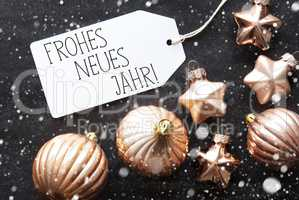 Bronze Christmas Balls, Snowflakes, Frohes Neues Means Happy New Year