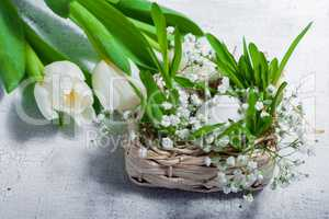 Easter symbols with tulips and eggs