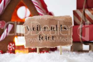 Gingerbread House With Sled, Weihnachtsfeier Means Christmas Party