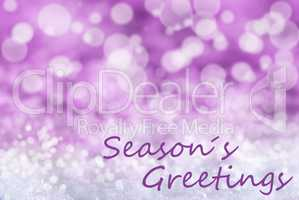 Pink Bokeh Christmas Background, Snow, Text Seasons Greetings