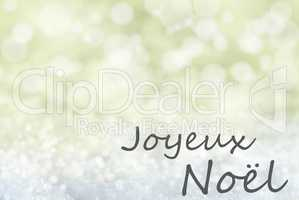 Golden Bokeh Background, Snow, Joyeux Noel Means Merry Christmas