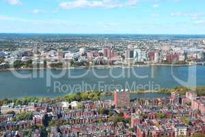 Aerial view of Boston skyline and Cambridge district separated b