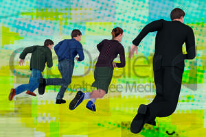 People running to the goal, illustration