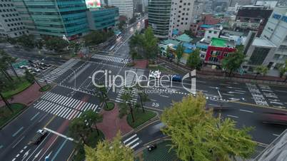 Timelapse of traffic on intersection in Seoul, South Korea