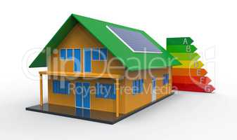 House and energy efficiency chart, 3d rendering