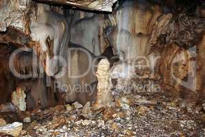 Bizarre mineral formations in stalactite cavern