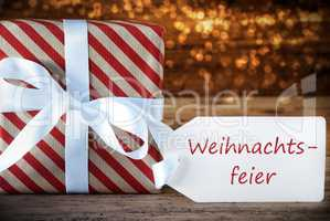 Atmospheric Gift With Label, Weihnachtsfeier Means Christmas Party