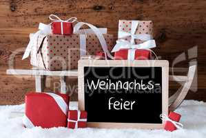 Sleigh With Gifts On Snow, Weihnachtsfeier Means Christmas Party