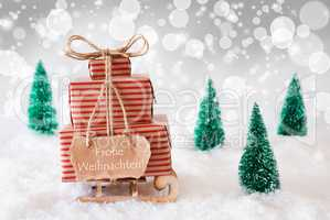 Sleigh On White Background, Frohe Weihnachten Means Merry Christmas