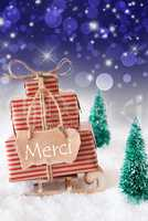Vertical Christmas Sleigh, Blue Background, Merci Means Thank You