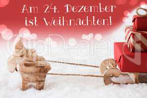 Reindeer With Sled, Red Background, Weihnachten Means Christmas