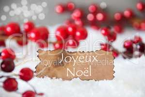 Burnt Label, Snow, Bokeh, Text Joyeux Noel Means Merry Christmas