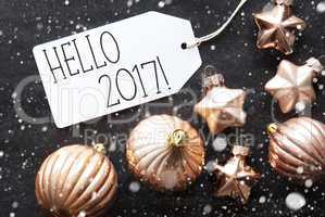 Bronze Christmas Balls, Snowflakes, Text Hello 2017