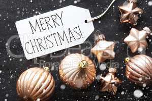 Bronze Balls, Snowflakes, Text Merry Christmas
