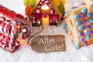 Colorful Gingerbread House, Snowflakes, Alles Gute Means Best Wishes