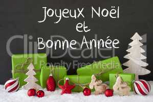 Christmas Decoration, Cement, Snow, Bonne Annee Means Happy New Year