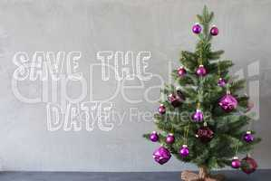 Christmas Tree, Cement Wall, English Text Save The Date