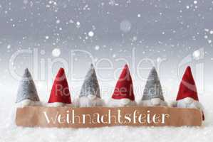 Gnomes, Silver Background, Snowflakes, Weihnachtsfeier Means Christmas Party