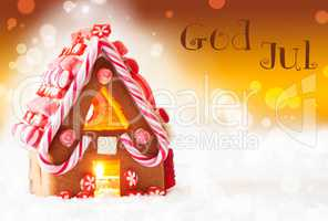 Gingerbread House, Golden Background, God Jul Means Merry Christmas