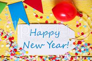Party Label, Red Balloon, Text Happy New Year