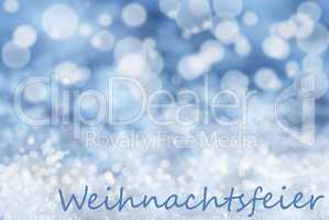 Blue Bokeh Background, Snow, Weihnachtsfeier Means Christmas Party