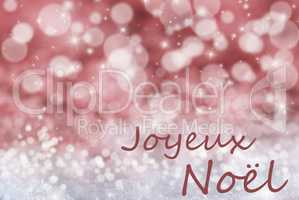 Red Bokeh Background, Snow, Joyeux Noel Mean Merry Christmas