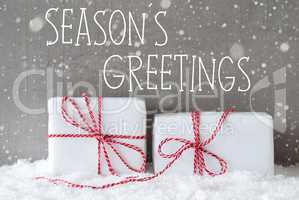 Two Gifts With Snowflakes, Text Seasons Greetings