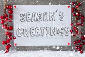 Label, Snowflakes, Christmas Decoration, Text Seasons Greetings