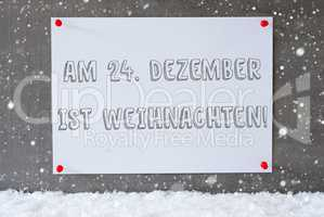 Label On Cement Wall, Snowflakes, Weihnachten Means Christmas