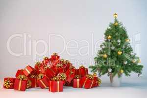 3d - christmas tree - christmas presents