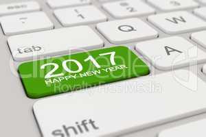 3d - keyboard - 2017 - happy new year - green