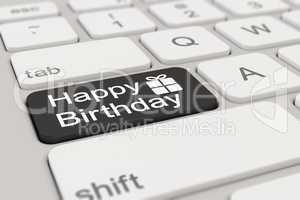 3d - keyboard - happy birthday - black
