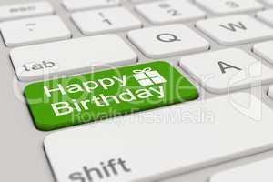 3d - keyboard - happy birthday - green