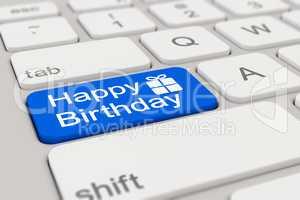 3d - keyboard - happy birthday - blue