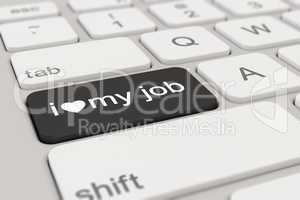 3d - keyboard - i love my job - black