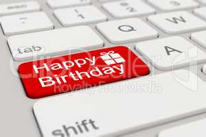 3d - keyboard - happy birthday - red