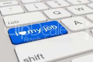 3d - keyboard - i love my job - blue