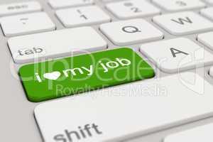 3d - keyboard - i love my job - green