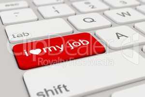 3d - keyboard - i love my job - red