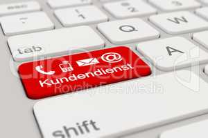 3d - keyboard - Kundendienst - red