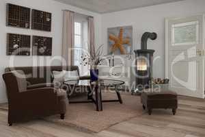 3d render of scandinavian flat - livingroom