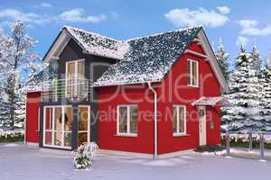 3d - single family house - winter - day