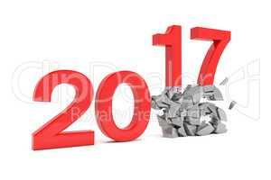 3d render - new year 2017 change concept - red